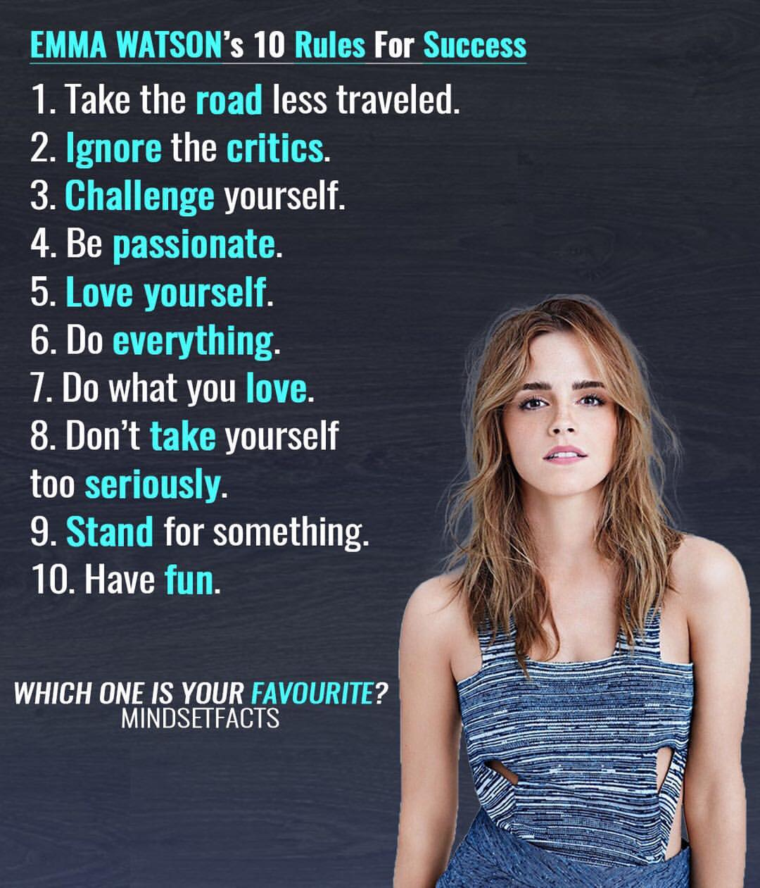 EMMA WATSON 10 Rules For Success