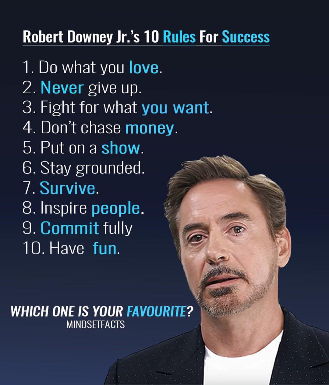 Robert Downey  10 Rules For Success