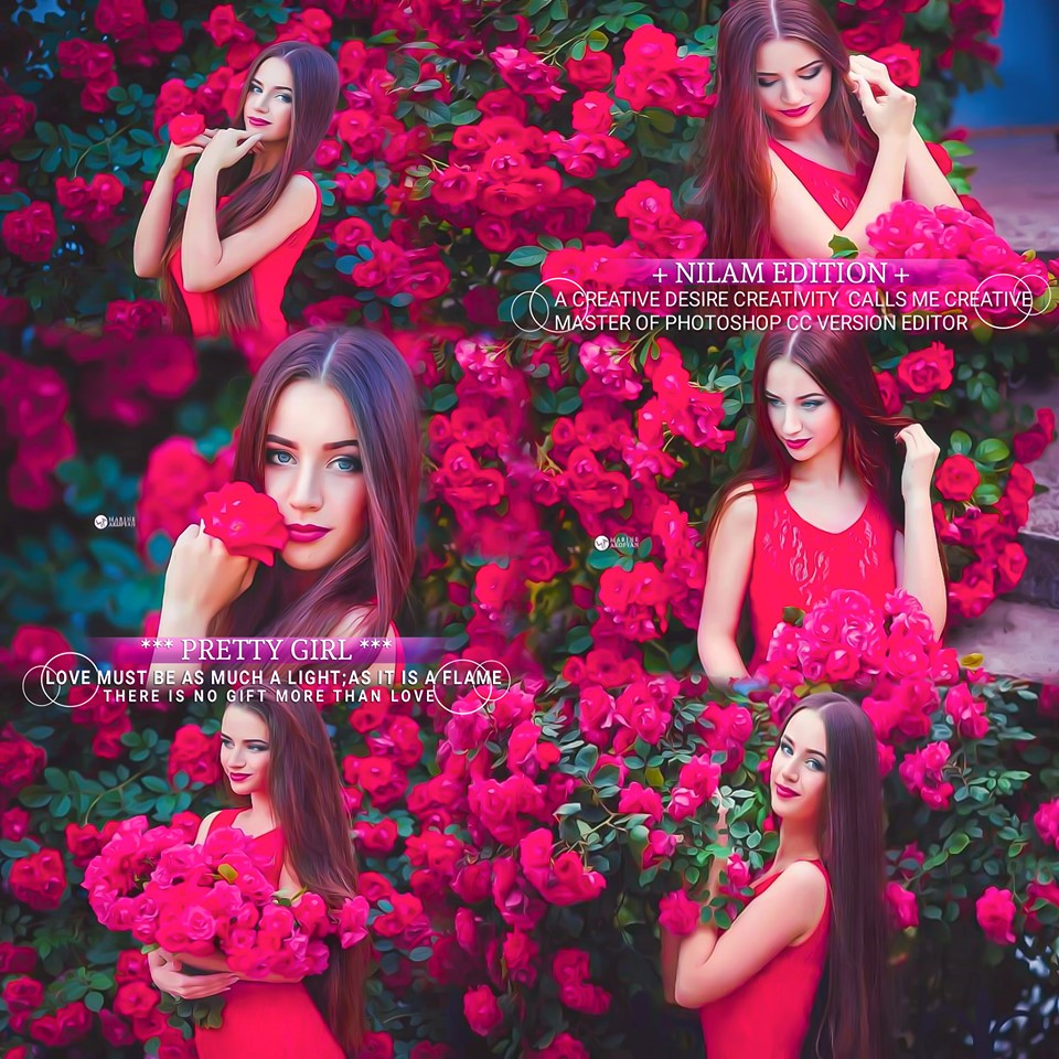 Young Brunette Photo With Red Flowers